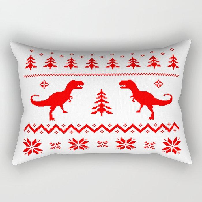 Ugly Christmas Sweater T-Rex Rectangular Pillow