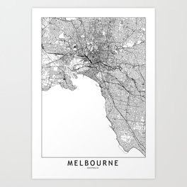 Melbourne White Map Art Print
