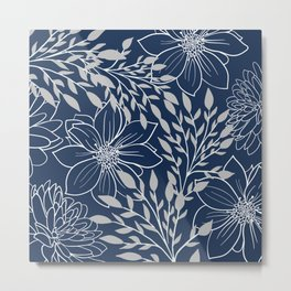 Floral Prints and Leaves, Line Art, Navy Blue and Gray Metal Print