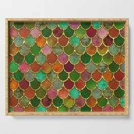 Greens & Gold Mermaid Scales Serving Tray