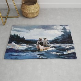 Canoe in the Rapids river landscape by Winslow H-o-m-e-r Rug
