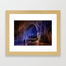 Man looking at imaginary window Framed Art Print
