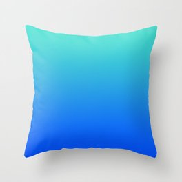 Bright Turquoise Blue Lagoon Ombre Throw Pillow