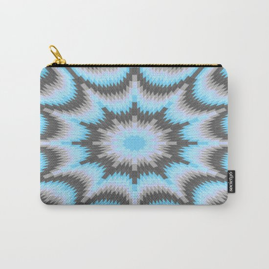 Geometric Burst Blue & Gray Carry-All Pouch