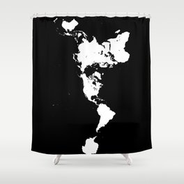Dymaxion World Map (Fuller Projection Map) - Minimalist White on Black Shower Curtain