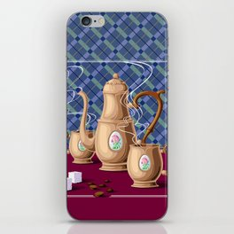 Coffee pot and two cups iPhone Skin