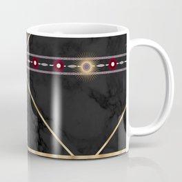 Golden Sun Mandala Ruby Flowr over BlackMarble Coffee Mug
