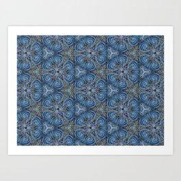 swirl blue pattern Art Print