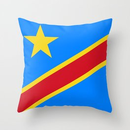National flag of the Democratic Republic of the Congo, Authentic version (to scale and color) Throw Pillow