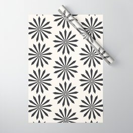 Black snowflake on light beige pattern Wrapping Paper