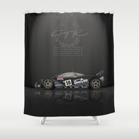 f1 Shower Curtains featuring 1995 Le Mans Winning McLaren F1 GTR #01R by vsixdesign