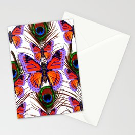 LILAC  FANTASY BUTTERFLIES GREEN PEACOCK EYES Stationery Cards
