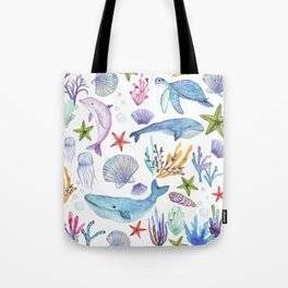 under the sea watercolor Tote Bag