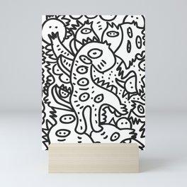 Cool Graffiti Art Dinosaur Black and White  Mini Art Print