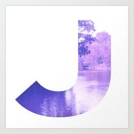 """J"" Initial Stream Art Print"