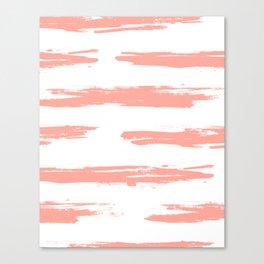 Pretty Pink Brush Stripes Horizontal Canvas Print