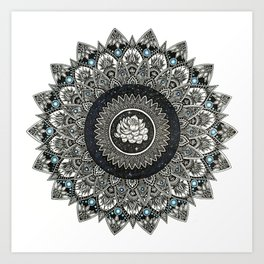 Black and White Flower Mandala with Blue Jewels Art Print