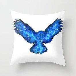 Space Owl | Double Exposure Owl | Owl Constellation | Cosmic Owl Throw Pillow