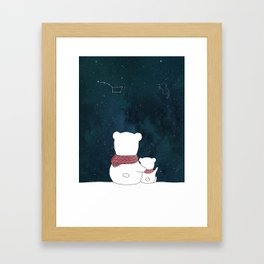 Watching the sky, at night. Watercolor and ink. Framed Art Print