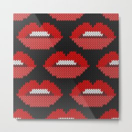 Lips pattern - black Metal Print
