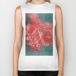 Abstract Red Flowers Biker Tank