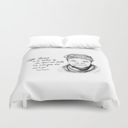 Maya Angelou Quote - Take Life by the Lapels - Art and Apparel Duvet Cover