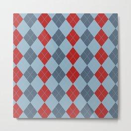 Blue and Red Argyle Diamond Plaid Print Metal Print