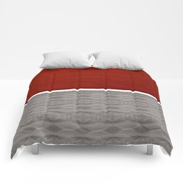 Red And Grey And White Stripe Graphic Offset Pattern Comforters