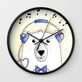 Polar Bear Jams Wall Clock