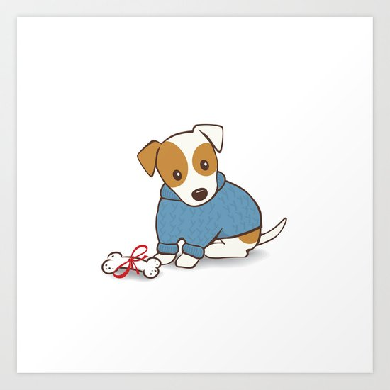 Jack Russell Terrier Wearing Sweater Illustration Art Print