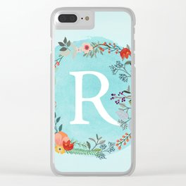 Personalized Monogram Initial Letter R Blue Watercolor Flower Wreath Artwork Clear iPhone Case