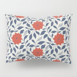 Vintage Floral in Red and Navy Blue Pillow Sham