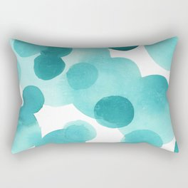 Aqua Bubbles: Abstract turquoise watercolor painting Rectangular Pillow
