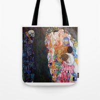 gustav klimt Tote Bags featuring Death and Life by Gustav Klimt by cvrcak