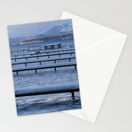 Lake Tahoe Docks Covered in Snow Stationery Cards