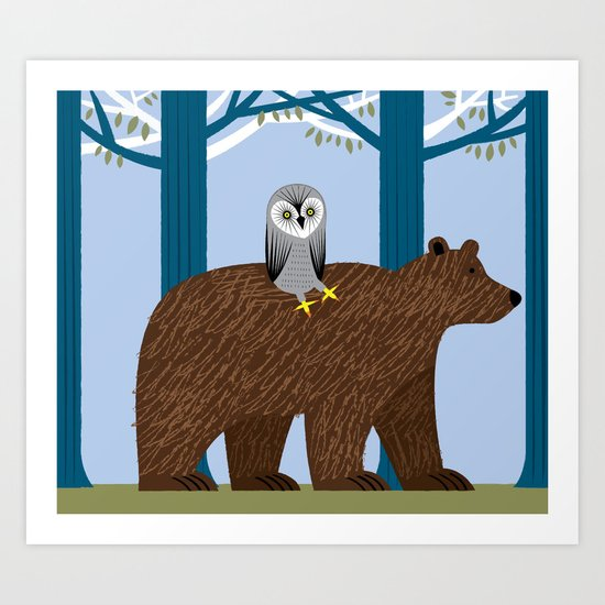 The Owl and The Bear Art Print