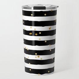 Hand drawn pattern, black and white stripes and gold dots Travel Mug