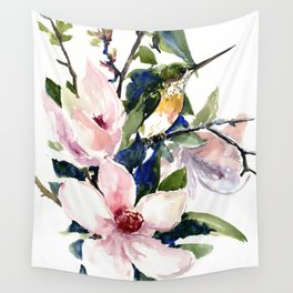 Hummingbird and Magnolia Flowers Wall Tapestry