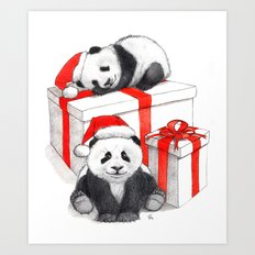 Christmas-Panda's babies g144 Art Print