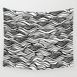 black oil river Wall Tapestry