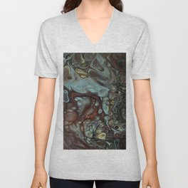 Earth tones abstract fluid art by Sharon Perry Unisex V-Neck