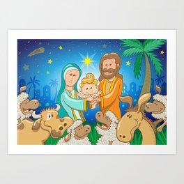 Sweet scene of the nativity of baby Jesus Art Print