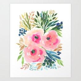 WATERCOLOR BLOOMING FLOWERS Art Print