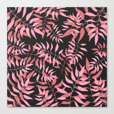 Dark Pink Leaves Canvas Print