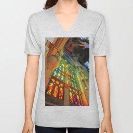 Sagrada Familia by Gaudi, Barcelona Cathedral   Glory Light Unisex V-Neck