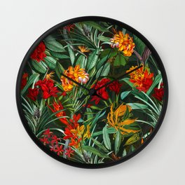 Vintage & Shabby Chic - Colorful Tropical Night Garden Wall Clock