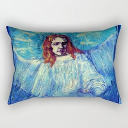"""Vincent van Gogh """"Half-figure of an Angel (after Rembrandt)"""" Rectangular Pillow"""
