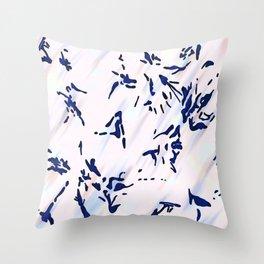 Blue Splatter Painting Pattern Throw Pillow
