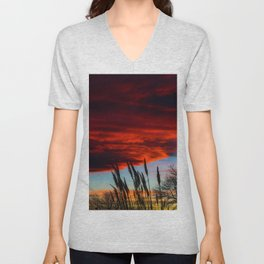 Winter Sunset Unisex V-Neck