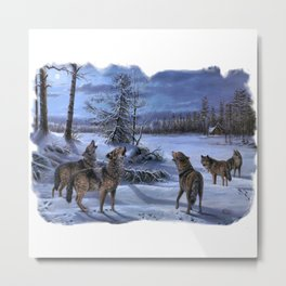 Beautiful artwork in a scenic lake setting with a full moon shining and the pack is howling! Metal Print